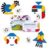 Joyoldelf Set di Tangram Puzzle Bambini - 36 pezzi Puzzle Legno, 60 pezzi Schede di Progettazione adatto per 2 anni-6 anni Ragazzi e Ragazze