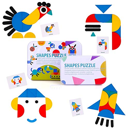 BBLIKE Wooden Tangram, 36 Montessori Wooden Puzzle + 60 PCS Design Stacking Cards Games and Educational Toys Childhood Classification