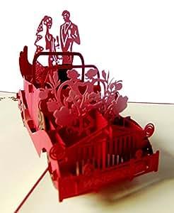 Pu09, Stilvolle 3D Pop Up Karte mit Umschlag zur Hochzeit, filigranes Kunstwerk als Hochzeitskarte, als Glückwunschkarte oder zur Einladung als Einladungskarte, Grußkarte, Glückwunschkarte