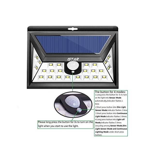 Lumières solaires super brillantes,Istar 24 LED Énergie solaire avec capteur de mouvement extérieur avec LED sur les deux côtés pour patio,pont,jardin,jardin,allée,extérieur avec capteur grand angle 1 (1 Paquet)