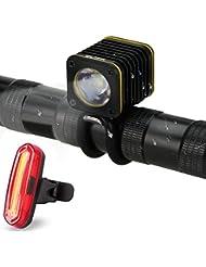 LED Fahrradlicht Set, FisherMo StVZO Standard USB Aufladbare Fahrradbeleuchtung Sets Fahrrad Rücklicht und Fahrra Frontlicht, USB Wiederaufladbare IPX6 Wasserdicht Außen Fahhradlampen
