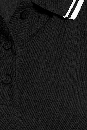 Polo femme à bandes contrastée Noir