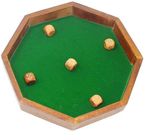 Bandeja de madera india de 8 lados para dados