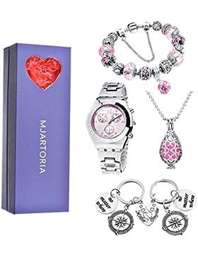 MJARTORIA Damen Vintage Schmuckset für Frauen Freundin Mama Kette Armband Uhr Schlüsselring 4 Schmuckstück Rosa...