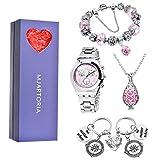 MJARTORIA Damen Vintage Schmuck Set für Mama Freundin Kette Armband Uhr Schlüsselring 4 Stück Rosa CZ Kristall