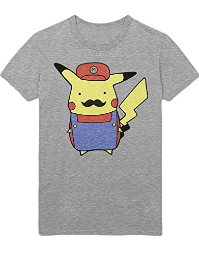 T-Shirt Pika Mario Mashup Mustache Poke Go Kanto 1996 Blue Version Pokeball Catch 'Em All Hype X Y Blue Red Yellow Plus Hype Nerd Game C980111 Grau S