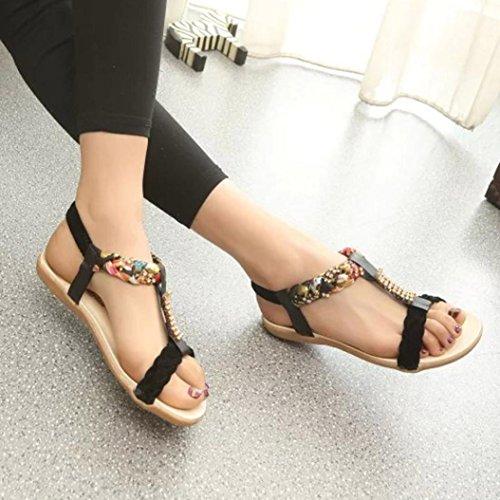 Omiky® Frauen Sandalen Elastische Strap Schuhe Casual Schuhe Sandalen Komfort Sandalen Schwarz