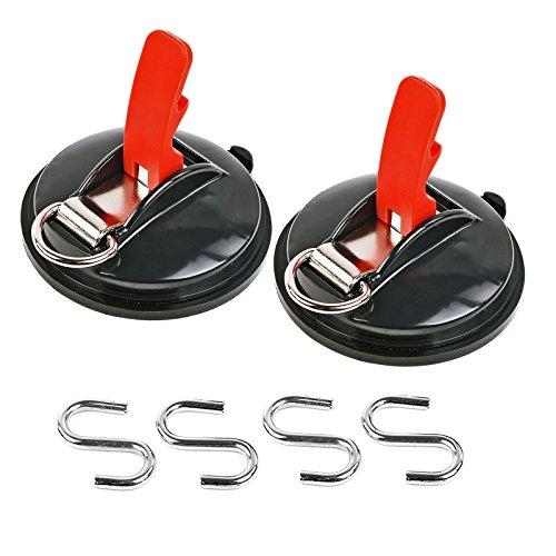 Saugnapf Befestigung max. 10 kg mit S Ring 2er Set Klappsauger für Vorzelte, Sonnensegel, Planen und Fahrzeugabdeckungen -