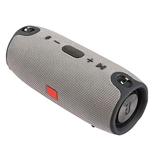 Musikbox Tragbarer Bluetooth-Lautsprecher Drahtlose Bass-Säule wasserdichte Unterstützung für Außenlautsprecher AUX TF USB-Subwoofer-Stereolautsprecher Teufel (Color : Gray)