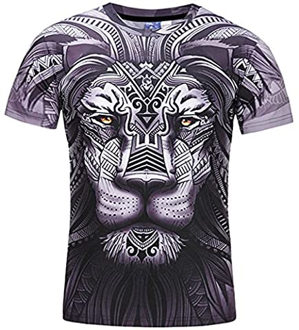 Pizoff Unisex Short Sleeve Crew Neck 3D King Lion Patterned Print Work Out Skinny T-Shirt Y1796-20-M