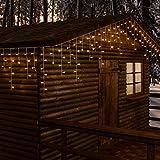 Eiszapfen-Lichterkette 30 x 0,6 m, 720 LEDs warmweiß, weißes Kabel, Memory Controller für einstellbare Lichtspiele, 24V Trafo, Innen/Außen