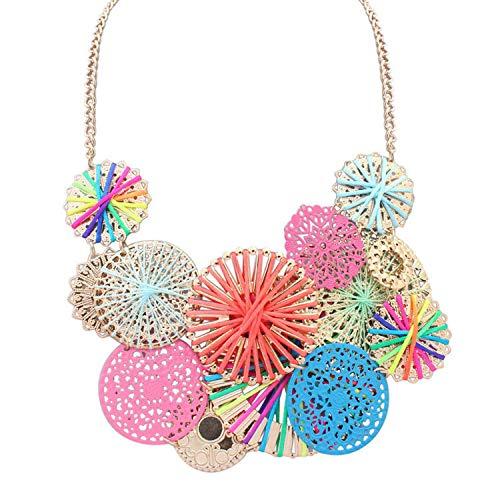 Handgefertigte Halskette mit großem Blumenmotiv, Bohemia-Statement-Halskette, mehrfarbig, Ethno-Kragen für Frauen, metall, multi, Einheitsgröße