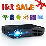 WOWOTO H8 Video Projector DLP LED 1280x800 HD 3D Multi-screen Sharing Touch Control Projectors (Black)