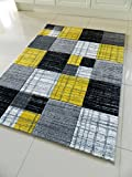 YELLOW BLACK SILVER GREY WHITE MOTTLED SMALL MEDIUM XX LARGE RUG NEW MODERN SOFT THICK CARVED CARPET NON SHED RUNNER BEDROOM LIVING ROOM AREA RUG MAT (160 x 225 cms)