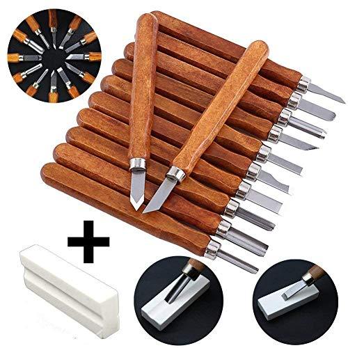 12pcs Holzschnitzerei Tools Kit Verbesserte SK2 Kohlenstoffstahl Messer mit Schutzhülle & Schärfstein für Gummi Kürbis Seife Gemüse DIY