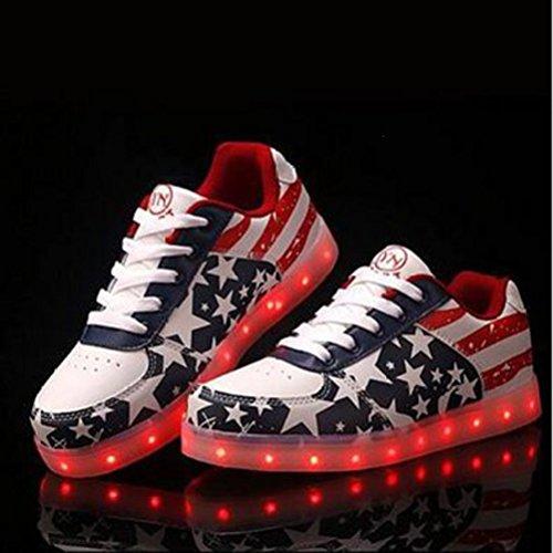 [Present:kleines Handtuch]JUNGLEST® Lackleder High-Top 7 Farbe LED Leuchtend Sport Schuhe Glow Sneakers USB Aufladen Turnschuhe für Unisex Herren Dam c24