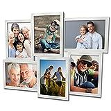 Fotogalerie für 6 Fotos 13x18 cm - 3D 609 Optik - Bilderrahmen Bildergalerie Fotocollage Rahmenfarbe Silber gebürstet