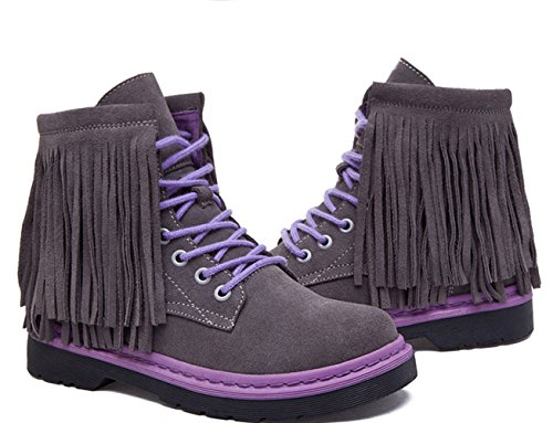 Damen Sneakers Schnürer Quaste Kurzschaft Warme Winter Stiefeletten Grau