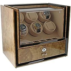 Aevitas Magnum-Kollektion Uhrenbeweger für 6 Uhren mit Aufbewahrungsbox aus Wurzelholz hell