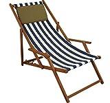 Erst-Holz Liegestuhl blau-weiß Gartenliege Kissen Strandstuhl Sonnenliege Deckchair Buche klappbar 10-317 KD