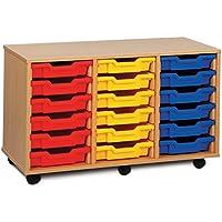 Monarch Mobile School Shallow Tray Storage Unit 18 Coloured Trays Beech MEQ3W-COL