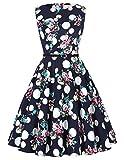 50s dress rockabilly kleid sommerkleid damen knielang baumwolle cocktailkleider knielang Größe M CL6086-53