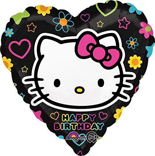 Folienballon Happy Birthday Hello Kitty Tween Heart Herz schwarz bunt 45 cm ungefüllt (Ballongas (Herzen Kitty Hello)
