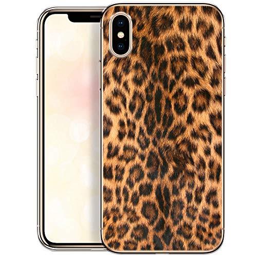 OOH!COLOR Collection 2019 Handyhülle kompatibel mit iPhone X iPhone XS Hülle dünn Slim Bumper Silikon Schutzhülle durchsichtig Case mit Motiv Leopard (EINWEG) - Hat Leopard Womens