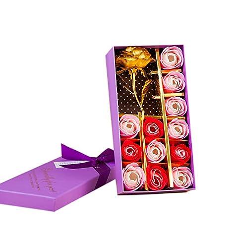 Lugii Cube coloré Savon Rose pour un anniversaire de mariage saint valentin occasion à S Jour Mother occasion à S Jour Fleur avec feuille d'or 12pcs/Box Doré
