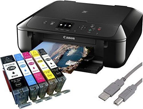 Canon PIXMA MG5750 Multifunktionsgerät schwarz + USB Kabel & 5 YouPrint Tintenpatronen (Drucker, Kopierer, Scanner, USB, WLAN) - Originalpatronen ausdrücklich nicht im Lieferumfang!
