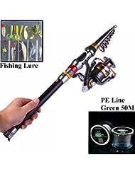 ecoolbuy 2.1 M, 2,4 m, 3.0M telescópica pesca Rod & 11BB carrete y señuelos & Line Set 99% materiales de carbono caña de pescar (Combo de pesca (señuelo de & línea libre)
