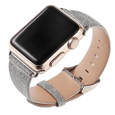Cuitan Bling Brillant Glitter PU cuir Bracelet pour 42mm Apple Watch iWatch Tous les modèles, Plain Weave Shiny Bracelet de Montre Replacement Watch Bande Band Watchband Strap avec Acier Inoxydable Adaptateur - Argent