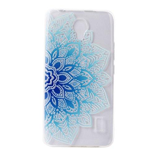 Huawei Y635 Hülle, LTWS Transparent Klar Soft TPU Silikon Gel Handyhülle Ultradünne Weich Durchsichtige Schutzhülle Kratzfeste Backcover für Huawei Y635 Case, Huawei Y635 Cover , Designs:Blaue Blume