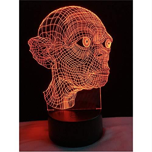 Neuheit Magische 3D Gollum Der Herr Der Ringe Smeagol Der Hobbit Trahald Nachtlicht 7 Farbverlauf Kinder Urlaub Weihnachten Geschenke
