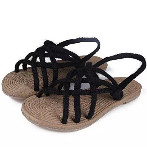 DM&Y 2017 B?hmen Retro Quer Riemchen-Sandalen handgefertigt Hanfseil gewebt Schuhe Badesandalen Black