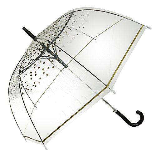 Gold Polka Stick Transparenter Regenschirm