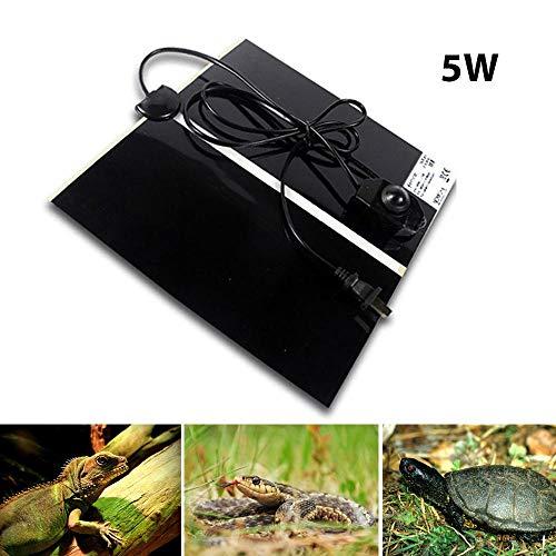Volwco Reptile Heizmatte, 14W Einstellbar Terrarium Heizmatten Mit Temperaturregler, Passt Für Schildkröte, Schlangen, Eidechse, Gecko (5W)