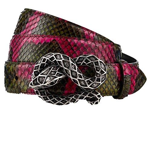 GUT INSTINKT Cinturón de cuero genuino artesanal de piel de serpiente de Python real de Italia - BISHARIN (Verde 85cm)
