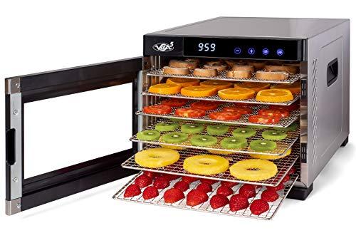 Deshydrateur Aliment Acier Inoxydable • Minuteur de 24h • Température réglable (35 à 75°C) + EXTRA : 1×feuilles à mailles, 1×bac d'égouttage • Vita5 Nobel Pro (10 Plateaux)