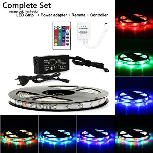 5m LED Strip Komplettset: Mehrfarbig Wasserdicht 300x3528 SMD Streifen Band Leiste (5A/60W) + 24 Tasten FB + DC12V Netzteil Stromadapter