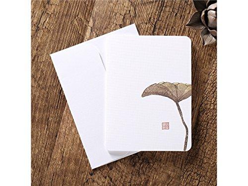 Lridsu carte regalo biglietti d'auguri con buste biglietti d'auguri in bianco carte cinesi classiche stampa floreale vintage (foglia di loto)