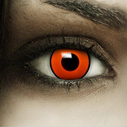 Farbige orangene Kontaktlinsen Krähe + Kunstblut Kapseln + Behälter von FXCONTACTS®, weich, ohne Stärke als 2er Pack - perfekt zu Halloween, Karneval, Fasching oder Fasnacht (Die Krähe Film Kostüm)