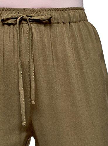 oodji Ultra Damen Viskose-Hose mit Bindebändern Grün (6800N)