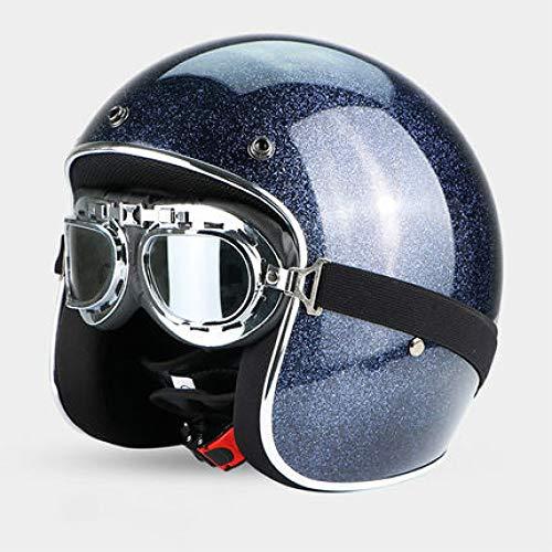 Berrd Frp Retro Open Face Casco moto Half Jet Retro Casco con occhiali M