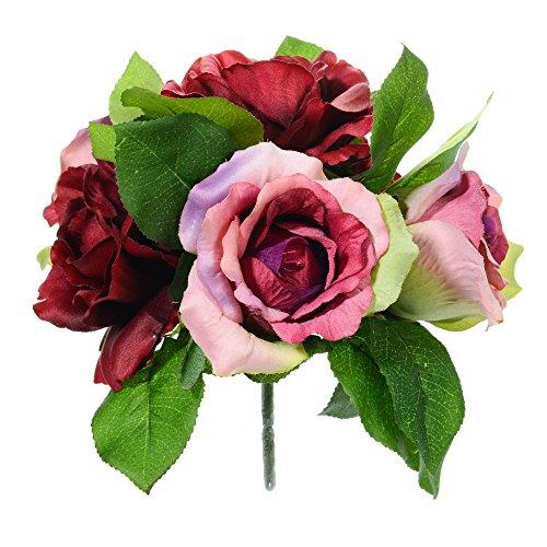 Country Baskets Bouquet de Bourgogne et Roses Roses artificielles