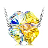 ANGEL NINA Women Jewellery Lucky Clover 925 Sterling Silver Swarovski Shining Crystal Pendant Necklace Birthday Anniversary Presents Gift For Her Girls Girlfriend Wife Sisters Mum Ladies Teenagers