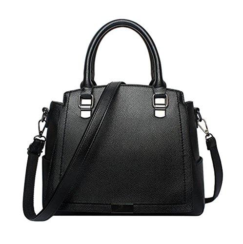 WanYang Donna Borsa Handbag A Spalla Righe In PU Cuoio Annata Della Borsa Del Cuoio Del Sacchetto Di Spalla Del Tote Della Nero
