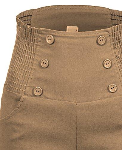Taille haute sophistiqués chic à la mode avant de bouton Vintage Shorts Inspired Desert Sand