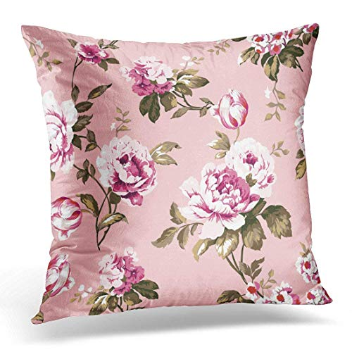 Yuerb kissenbezüge Blue Abstract Shabby Chic Vintage Roses Tulips and Forget Me Nots Classic Chintz Floral Raster Colorful Decorative Pillow Case Home Decor Square 18x18 Inches Pillowcase Blue Rose Chintz