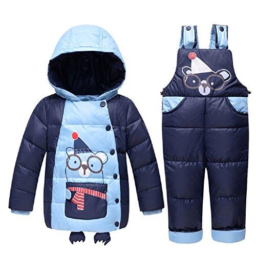 Kinder Baby Mädchen Jungen 90% Warme Entendaunen Kleidung Set Kinder Winter Jacke Baby Kleidung Verdickte Winterjacke + Winterhose Cartoon-Aufdruck (24T, Blau)